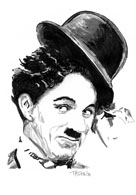 Pen and ink drawing of Charlie Chaplin