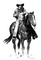 Pen and ink drawing of a cowboy and his horse