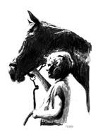 Pen and ink drawing of a young girl and her horse