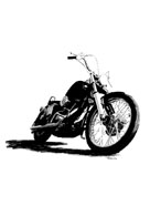 Pen and ink drawing of Harley Davidson motorcycle