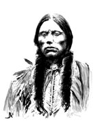 Pen and ink drawing of last Comanche chief, Quanah Parker
