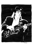 Pen and ink drawing of Stevie Ray Vaughn