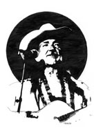 Pen and ink drawing of Willie Nelson